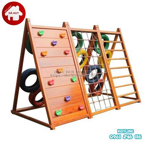 Bộ leo núi đa năng bằng gỗ cho bé HE2-002-1