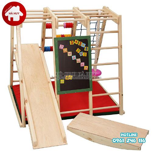Xà đu đa năng kèm cầu trượt bằng gỗ cho bé VDG-007