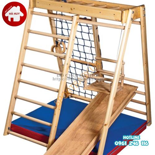 Xà đu đa năng kèm cầu trượt bằng gỗ cho bé VDG-007-2