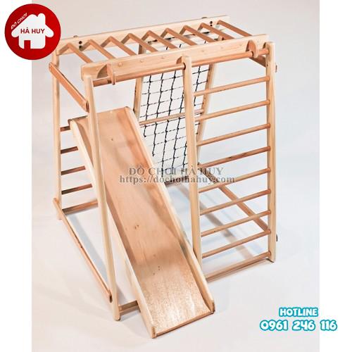 Xà đu đa năng kèm cầu trượt bằng gỗ cho bé VDG-007-3