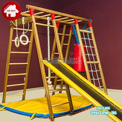 Xà đu đa năng kèm cầu trượt bằng gỗ cho bé VDG-007-4