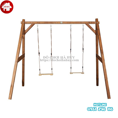 Xích đu 2 chỗ bằng gỗ cho bé mầm non VDG-005-1