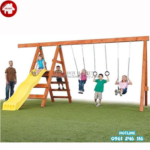 Xích đu thang leo cầu trượt bằng gỗ cho bé VDG-002